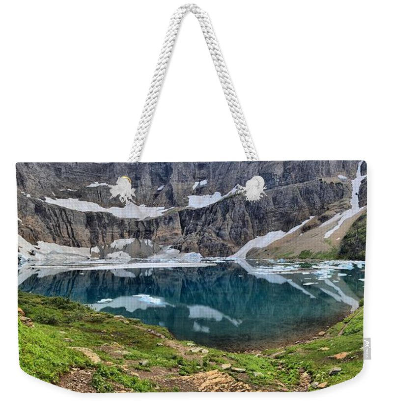Iceberg Lake Panorama Weekender Tote Bag featuring the photograph Glacier Icebergs by Adam Jewell
