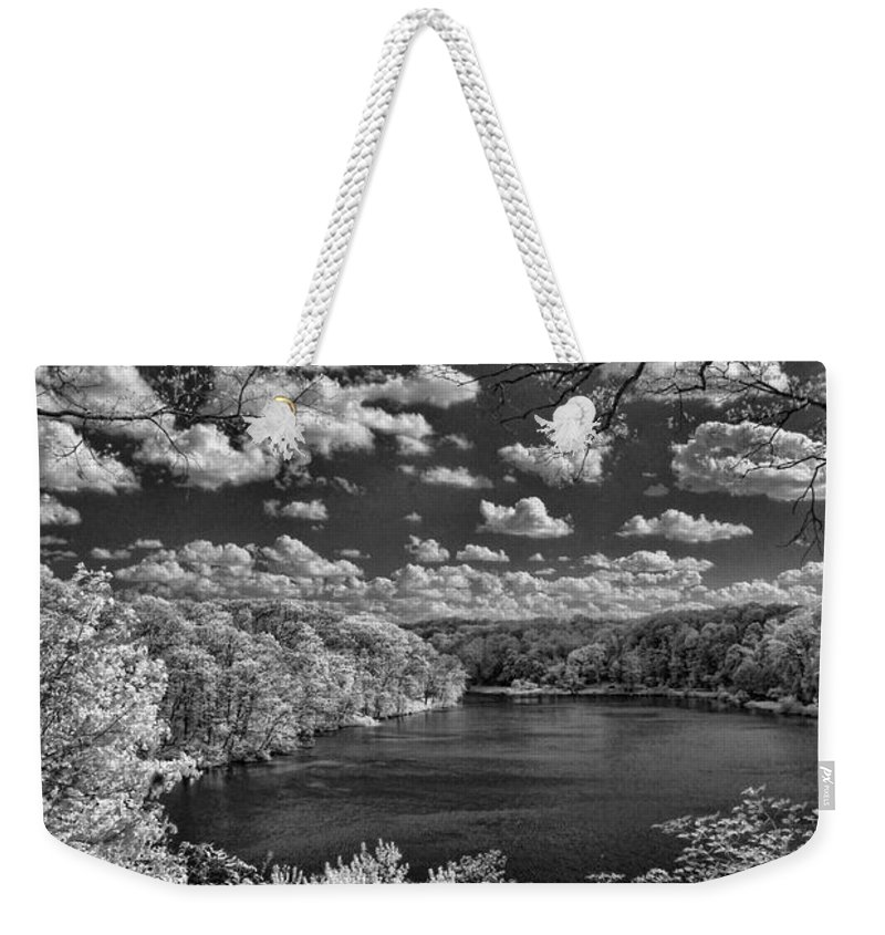 Infrared Weekender Tote Bag featuring the photograph Glacier Lake by Michael McGowan