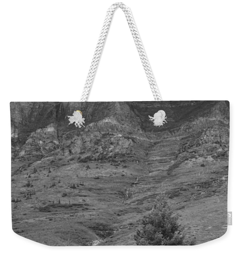 Glacier National Park Montana Horizontal Black And White Mountain Cloud Landscape Striation Pine Tree Waterfall Weekender Tote Bag featuring the photograph Glacier National Park Montana Vertical by Heather Kirk