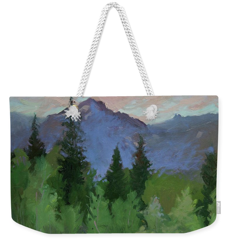 Plein Air Painting Weekender Tote Bag featuring the painting Glacier Nat'l Park - Plein Air - Rising Wolf Ranch by Betty Jean Billups