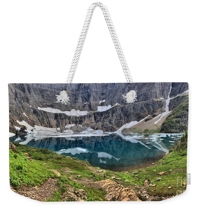 Iceberg Lake Panorama Weekender Tote Bag featuring the photograph Glacier Paradise by Adam Jewell