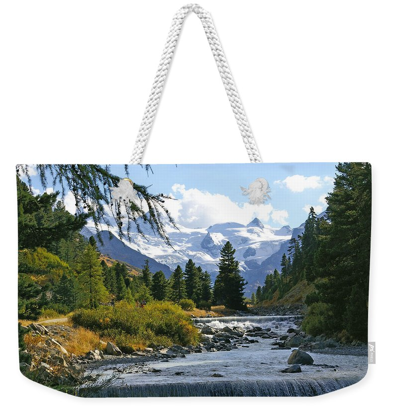 Mountain Weekender Tote Bag featuring the photograph Glacier Stream by Tom Reynen