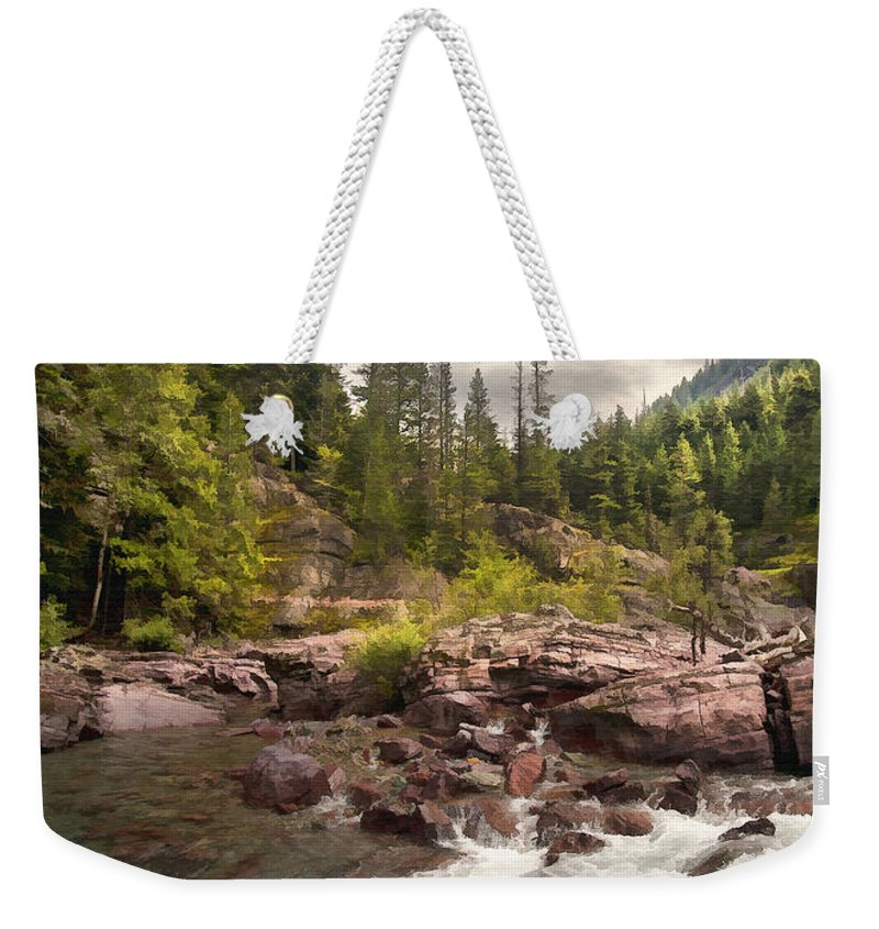Landscape Weekender Tote Bag featuring the digital art Glacier Waterfall by Sharon Foster