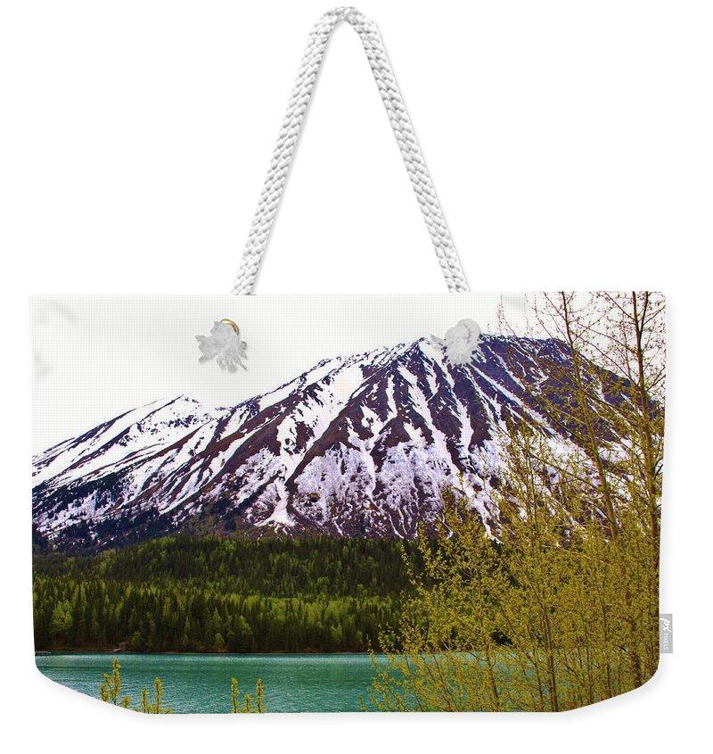 Kenai Lake Weekender Tote Bag featuring the photograph Glacier Waters by Lori Mahaffey