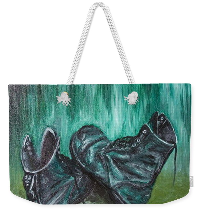 Shoes Weekender Tote Bag featuring the painting Gladiator by Pablo de Choros