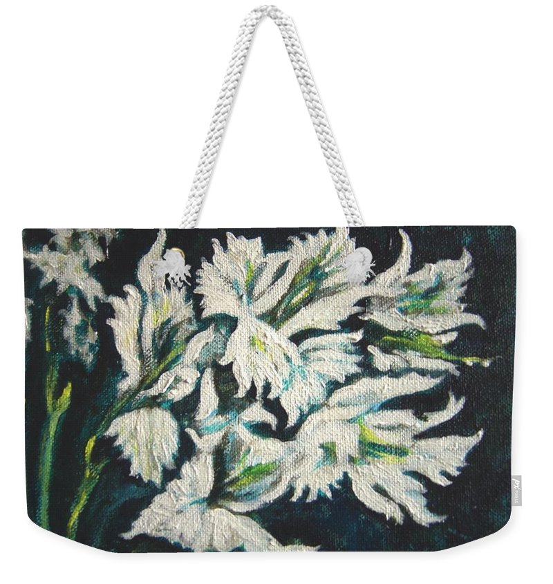 Gladioli Weekender Tote Bag featuring the painting Gladioli by Usha Shantharam
