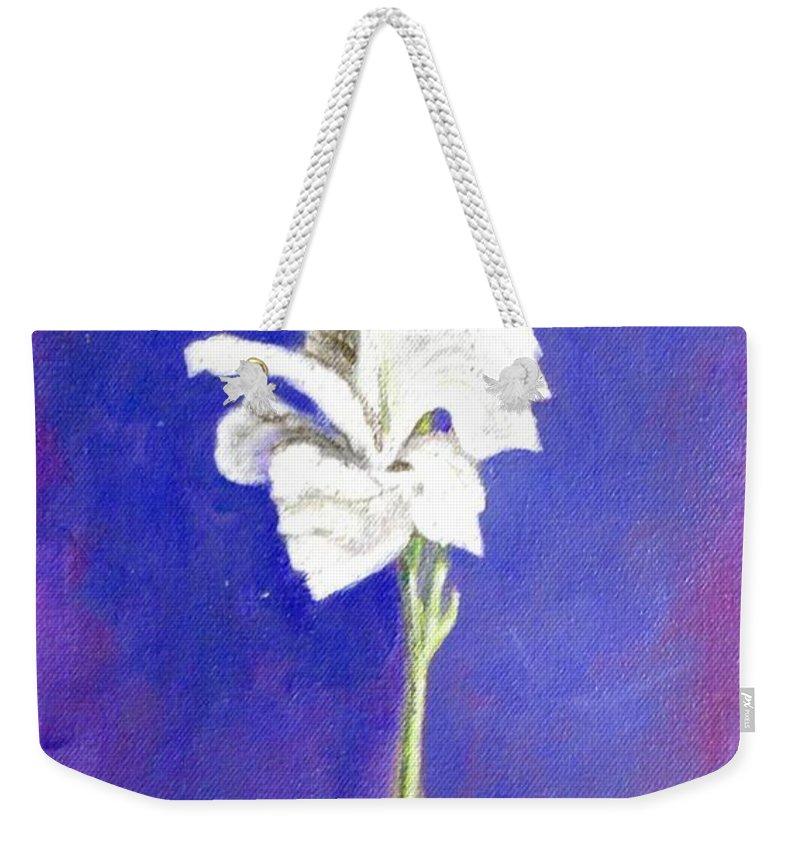Flower Weekender Tote Bag featuring the painting Gladiolus 1 by Usha Shantharam