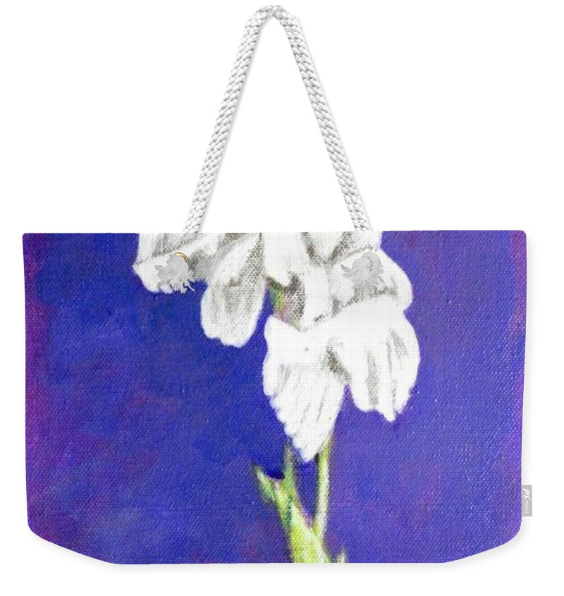 Weekender Tote Bag featuring the painting Gladiolus 2 by Usha Shantharam