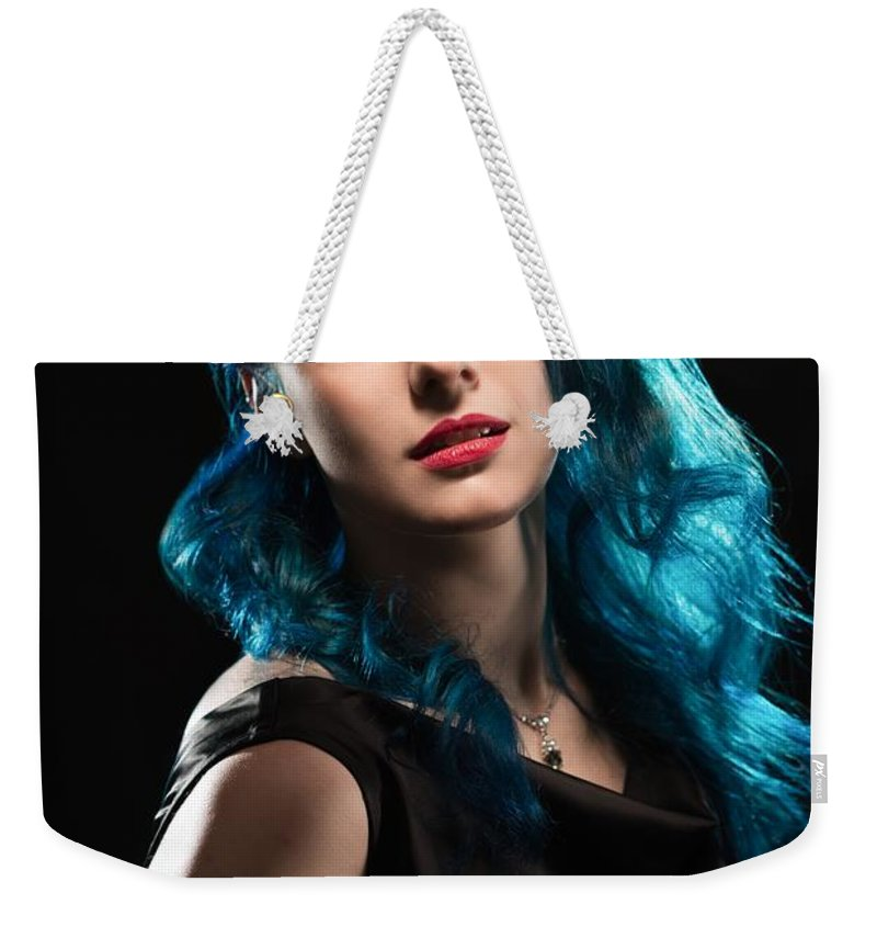 Hollywood Weekender Tote Bag featuring the photograph Glamorous Hollywood Style Woman by Amanda Elwell