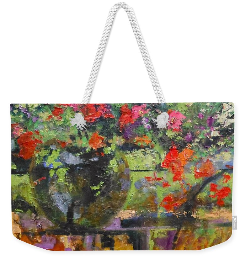Floral Weekender Tote Bag featuring the painting Glass And Flowers by Mary Welty