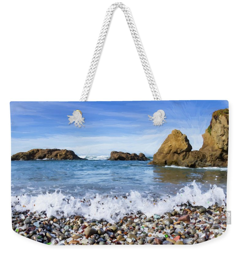 Beach Weekender Tote Bag featuring the photograph Glass Beach, Fort Bragg California by Charles Wollertz