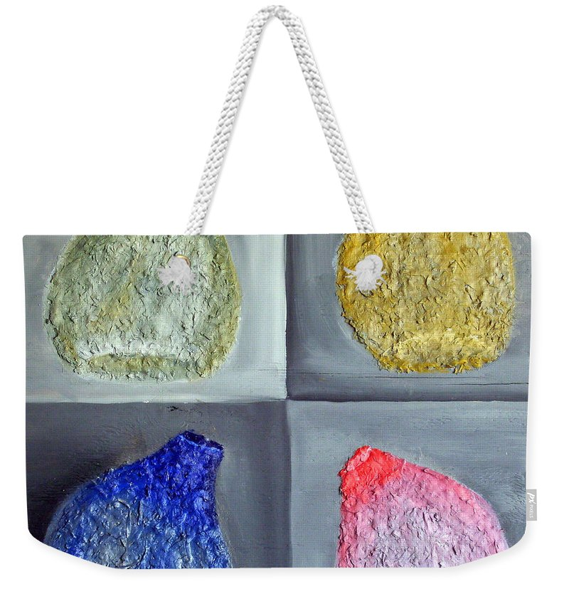 Still Life Paintings Weekender Tote Bag featuring the painting Glass Full Of Shapes by Leslye Miller