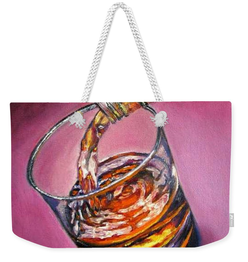 Glass Of Wine Weekender Tote Bag featuring the painting Glass of Wine Original oil painting by Natalja Picugina