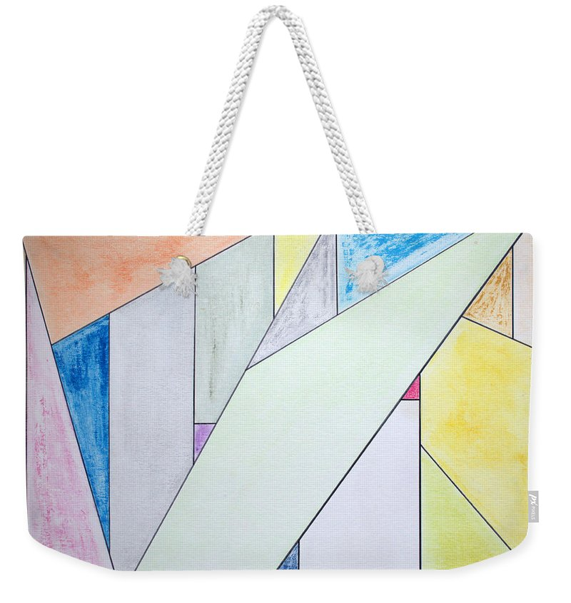 Buildings Weekender Tote Bag featuring the mixed media Glass-scrapers by J R Seymour