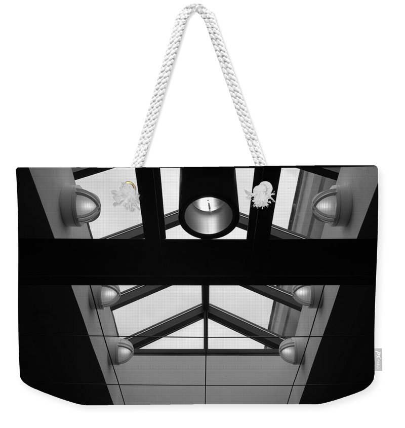 Black And White Weekender Tote Bag featuring the photograph Glass Sky Lights by Rob Hans