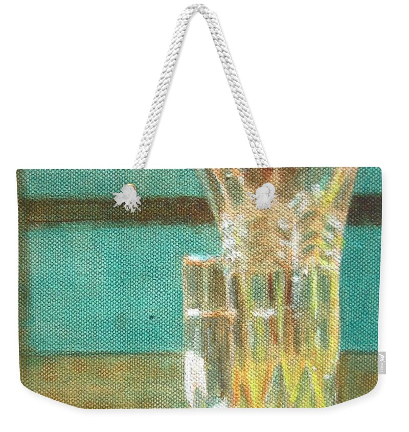 Glass Weekender Tote Bag featuring the painting Glass Vase - Still Life by Usha Shantharam