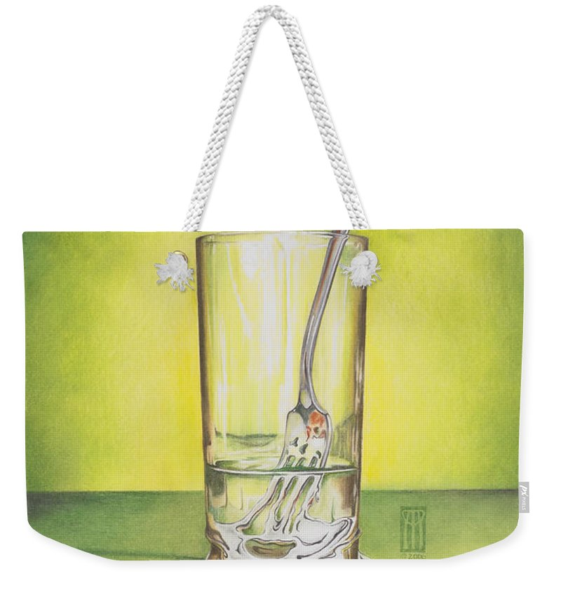 Bizarre Weekender Tote Bag featuring the painting Glass With Melting Fork by Melissa A Benson