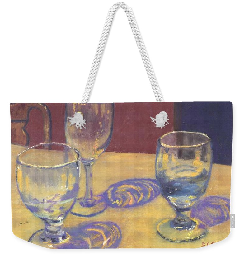 Glasses Weekender Tote Bag featuring the painting Glasslights by Sharon E Allen