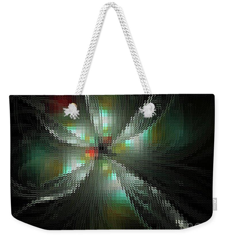 Fractal Weekender Tote Bag featuring the digital art Glassworks Fractal by Deborah Benoit
