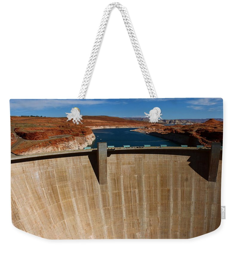 Lake Weekender Tote Bag featuring the photograph Glen Canyon Dam And Lake Powell by Christiane Schulze Art And Photography