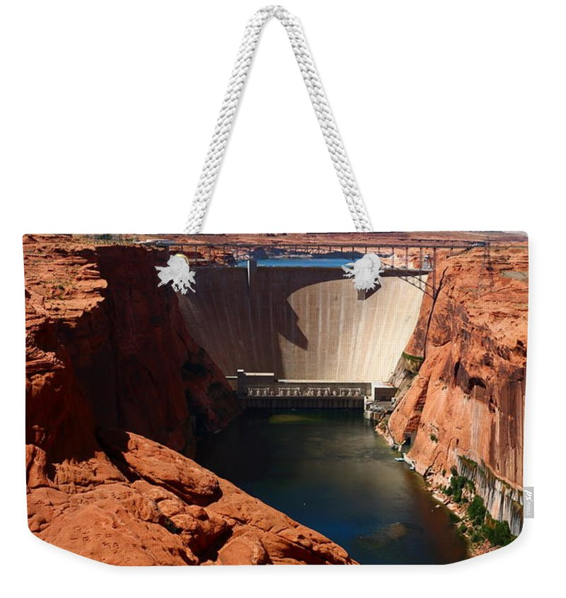 Dam Weekender Tote Bag featuring the photograph Glen Canyon Dam - Arizona by Christiane Schulze Art And Photography