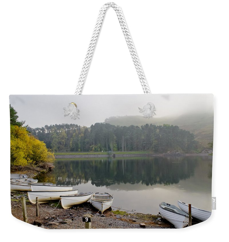 Boats Weekender Tote Bag featuring the photograph Glencorse Reflection. by Elena Perelman