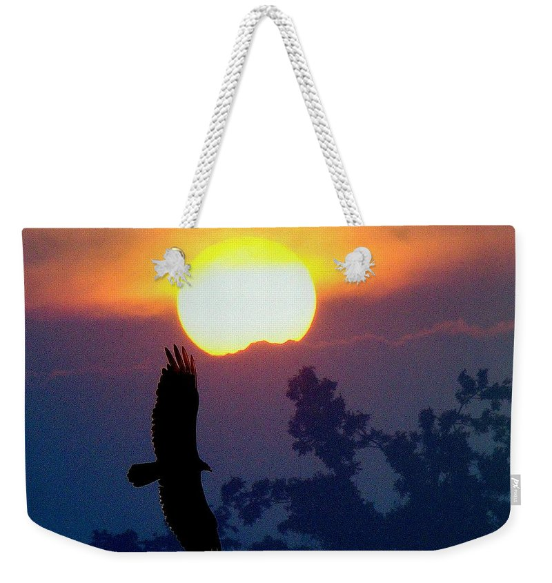 Sunset Weekender Tote Bag featuring the photograph Gliding By The Sun by J R Seymour