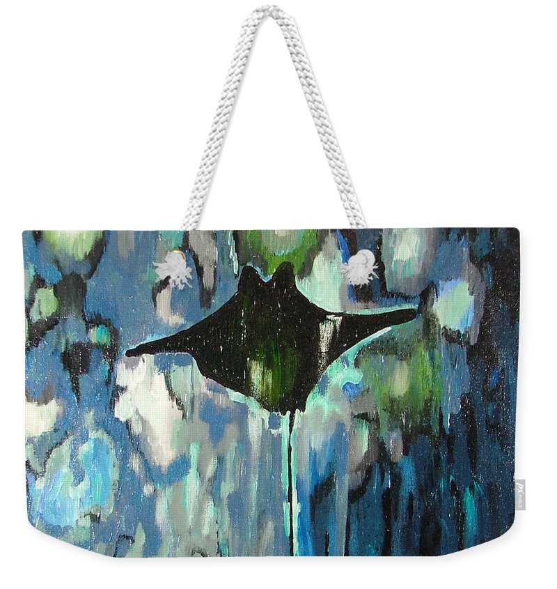 Stingray Weekender Tote Bag featuring the painting Gliding Stingray by Heather Lennox