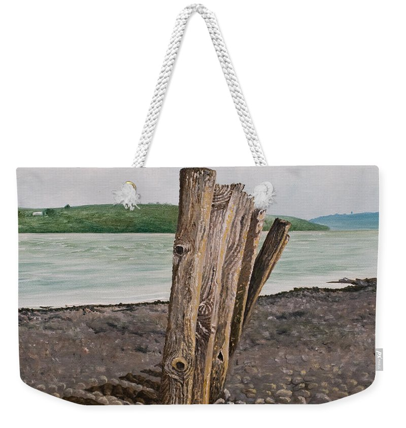 Landscape Beach Stones River Shannon Glin Wood Breakers Clare Shadows Weekender Tote Bag featuring the painting Glin Beach Breakers by Pauline Sharp