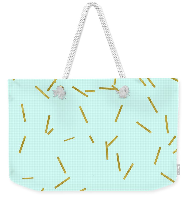 Stix Weekender Tote Bag featuring the digital art Glitter confetti on aqua gold pick up sticks pattern by Tina Lavoie