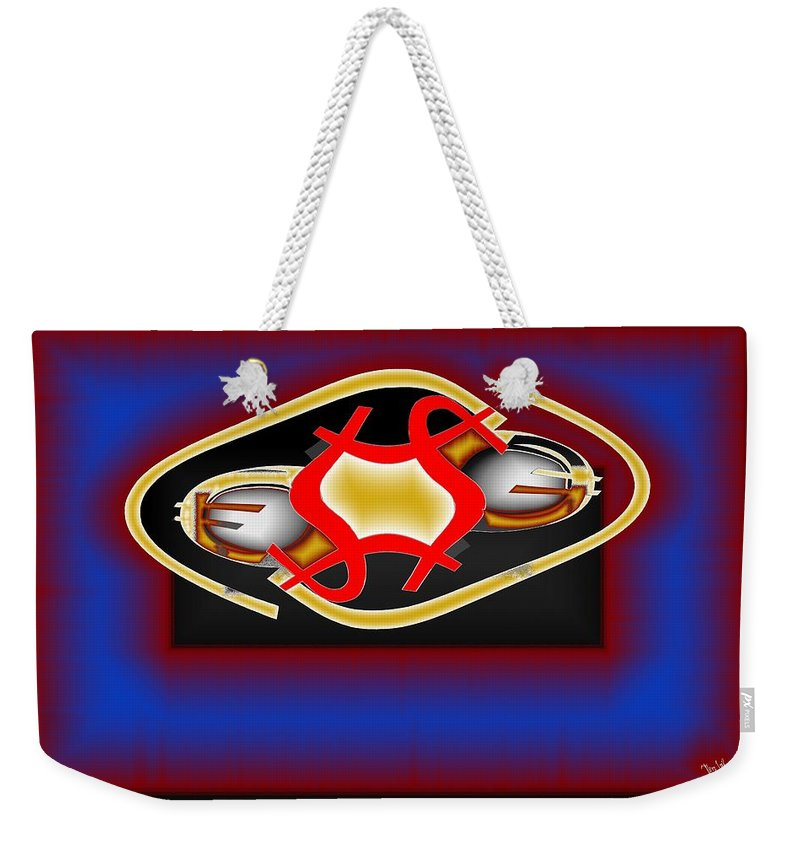 Dollar Weekender Tote Bag featuring the digital art Global Dancing Round The Golden Calf by Helmut Rottler