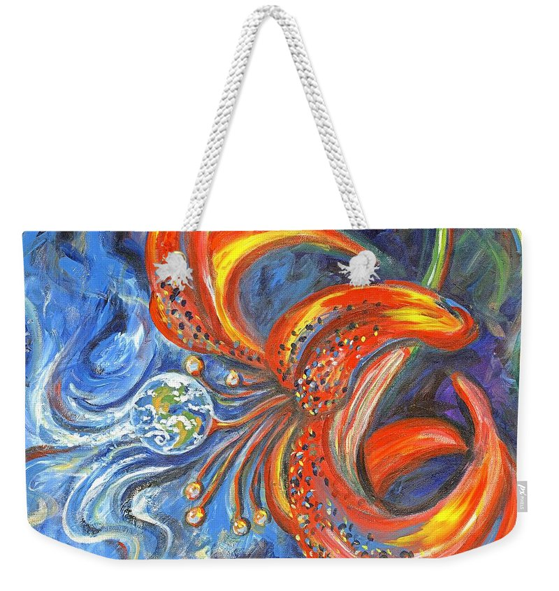Flower Weekender Tote Bag featuring the painting Global Lily by Linda Mears