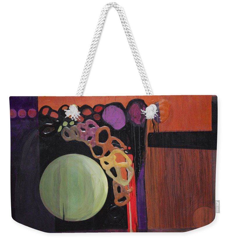 Abstract Weekender Tote Bag featuring the painting Globular by Marlene Burns
