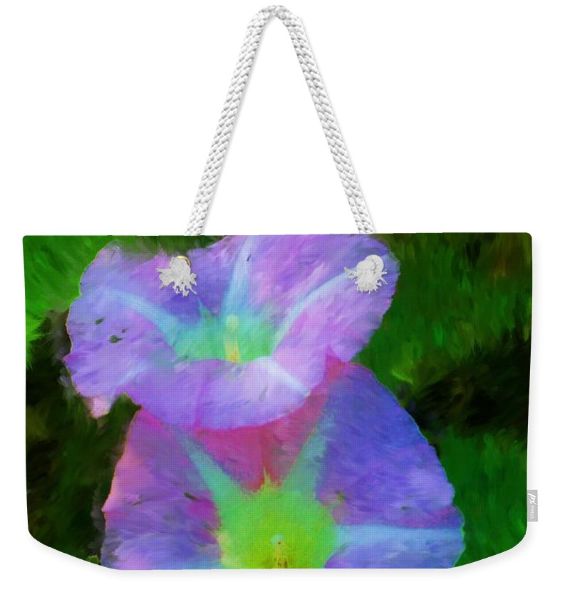 Floral Weekender Tote Bag featuring the painting Gloria In The Shade by David Lane