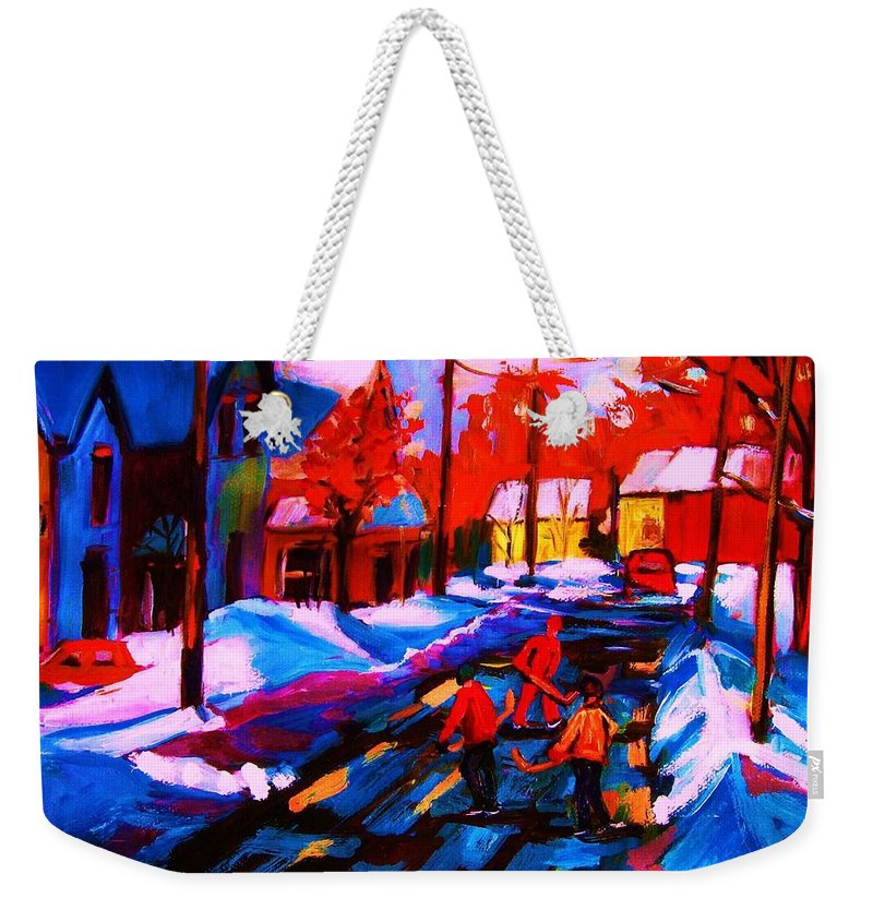Streethockey Weekender Tote Bag featuring the painting Glorious Day For A Game by Carole Spandau