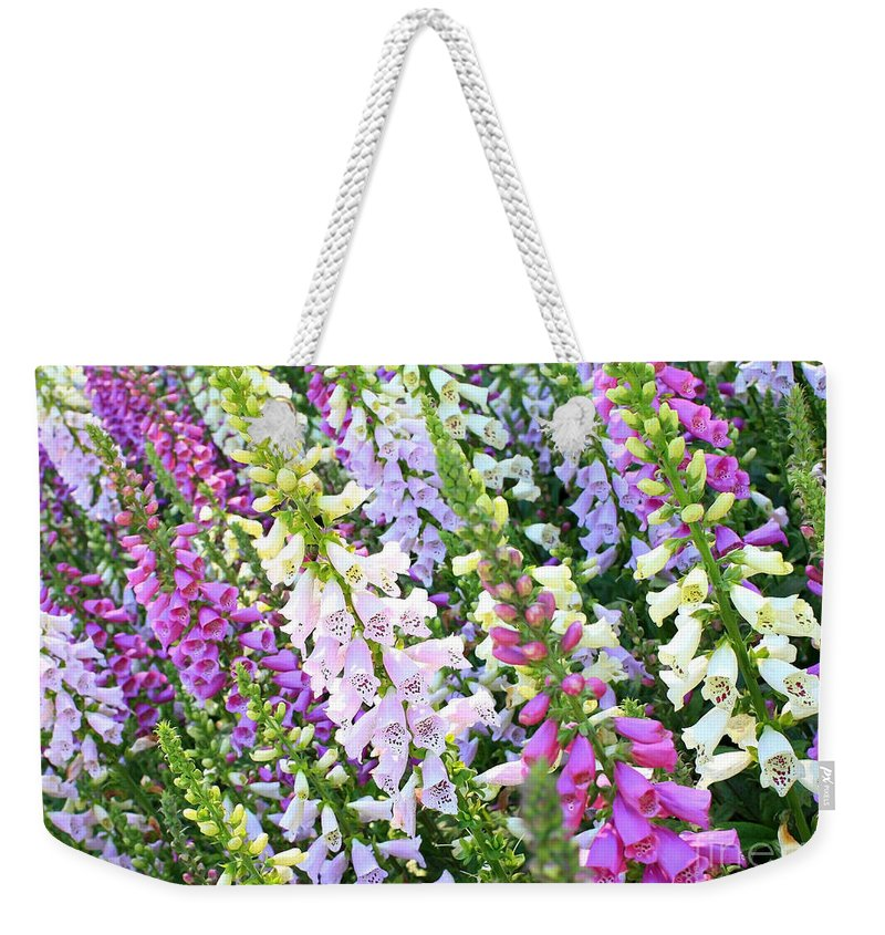 Foxgloves Weekender Tote Bag featuring the photograph Glorious Foxgloves by Carol Groenen