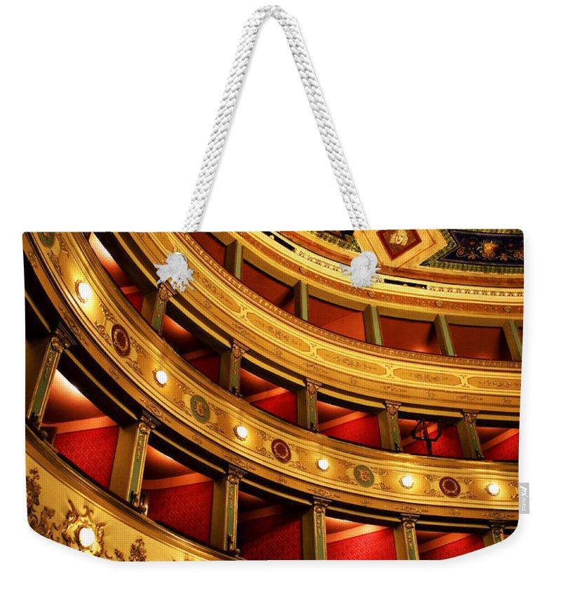 Theatre Weekender Tote Bag featuring the photograph Glorious Old Theatre by Marilyn Hunt