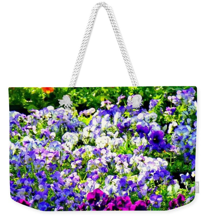 Pansys Weekender Tote Bag featuring the photograph Glorious Pansies by Karen Wiles