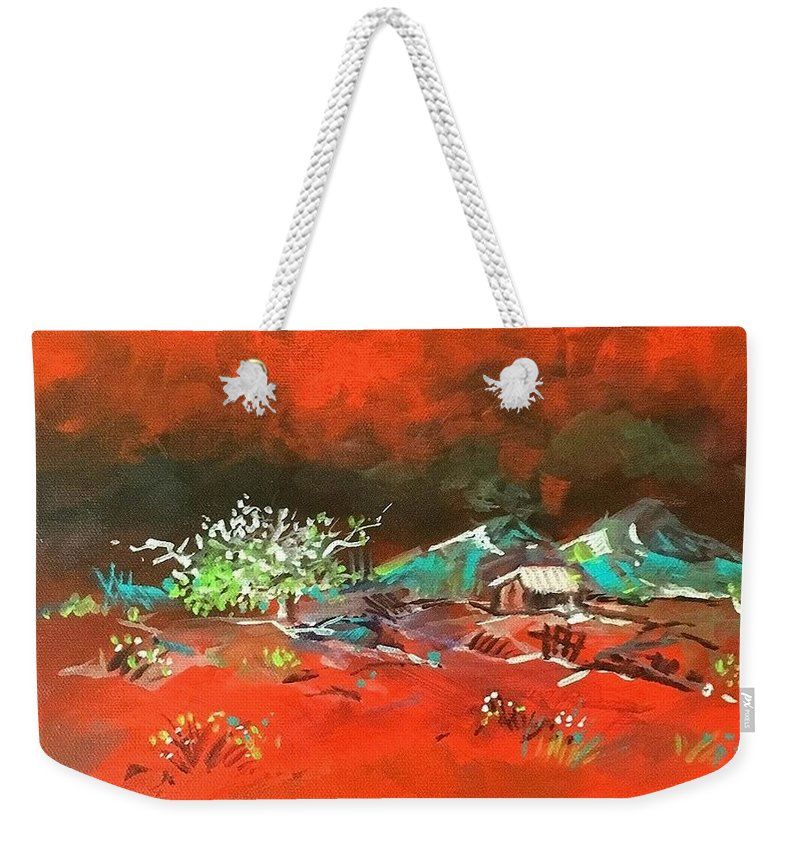 Landscape Weekender Tote Bag featuring the painting Glorious Red by Priyanka Ray