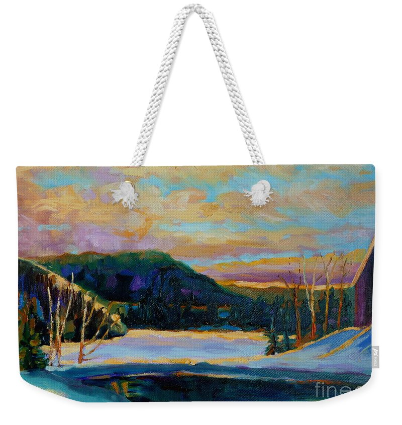 Vermont Weekender Tote Bag featuring the painting Glorious Winter Sunrise by Carole Spandau