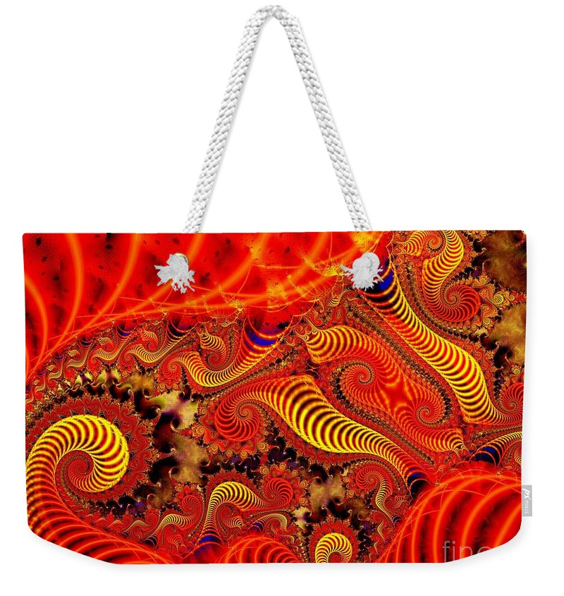 Coils Weekender Tote Bag featuring the digital art Glow Coils by Ron Bissett