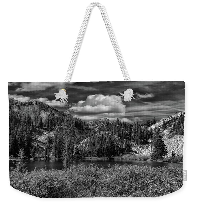 Utah Weekender Tote Bag featuring the photograph Glow On Lake Martha Bw by Mitch Johanson