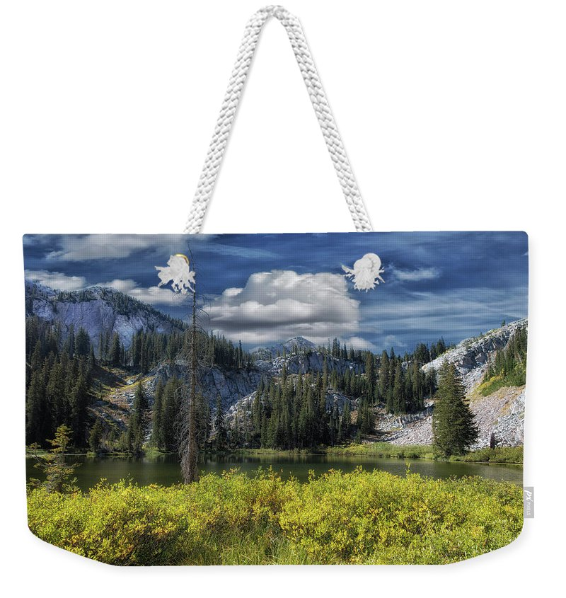 Utah Weekender Tote Bag featuring the photograph Glow On Lake Martha by Mitch Johanson
