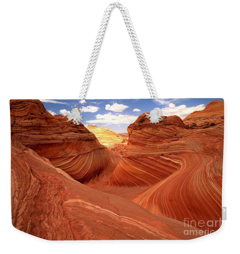 The Wave Weekender Tote Bag featuring the photograph Glowing Butte At The Wave by Adam Jewell
