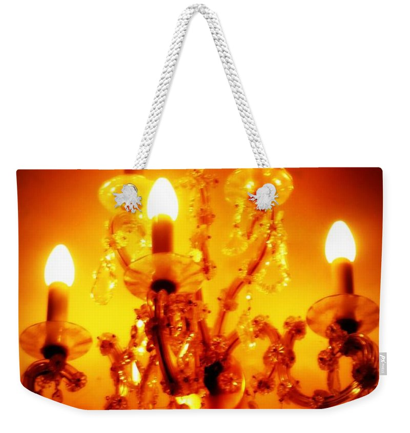Dining Room Decor Weekender Tote Bag featuring the photograph Glowing Chandelier--companion Piece by Carol Groenen