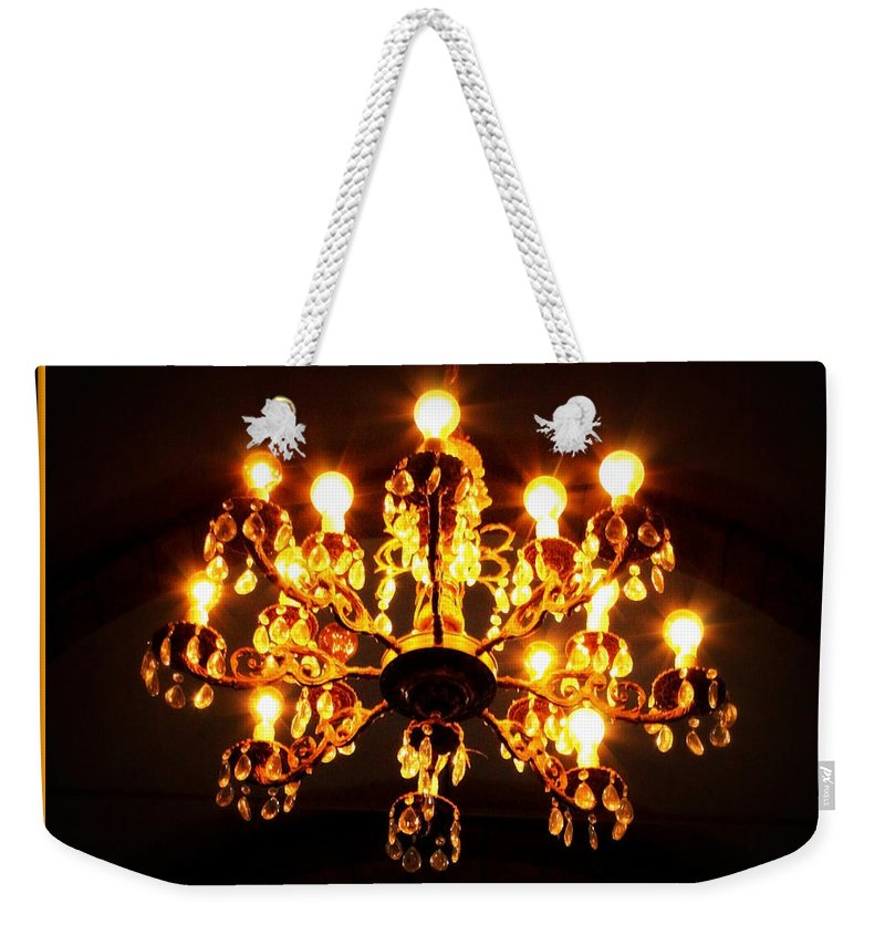 Chandelier Weekender Tote Bag featuring the photograph Glowing Chandelier With Border by Carol Groenen