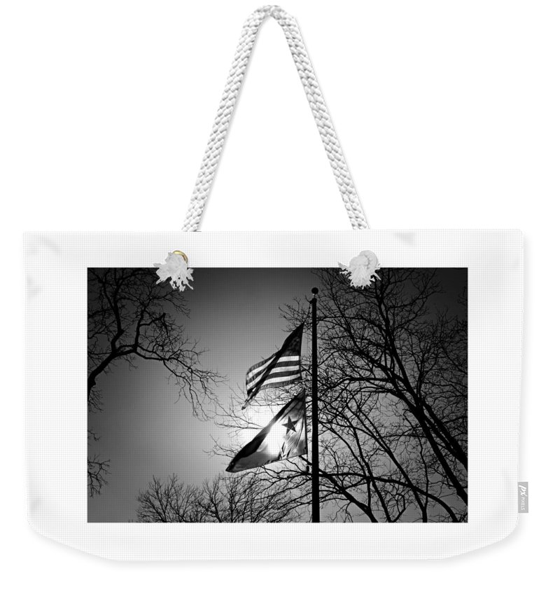 Black And White Weekender Tote Bag featuring the digital art Glowing Flags by Katherine Nutt