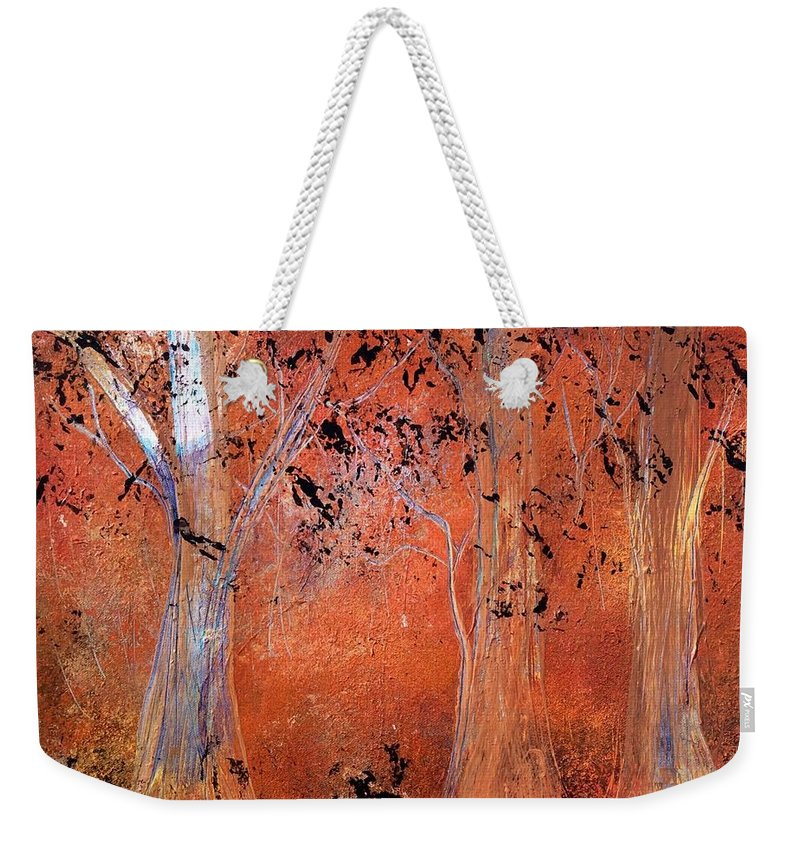 Abstract Weekender Tote Bag featuring the painting Glowing Forest by Richard Fey