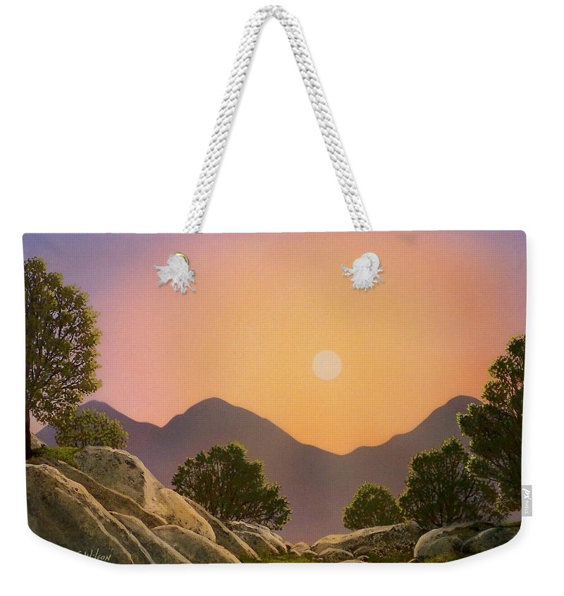 Mountains Weekender Tote Bag featuring the painting Glowing Landscape by Frank Wilson