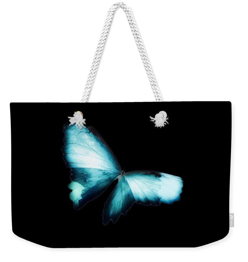 Glowing Weekender Tote Bag featuring the photograph Glowing Soft Butterfly In Teal Blues by Heather Joyce Morrill